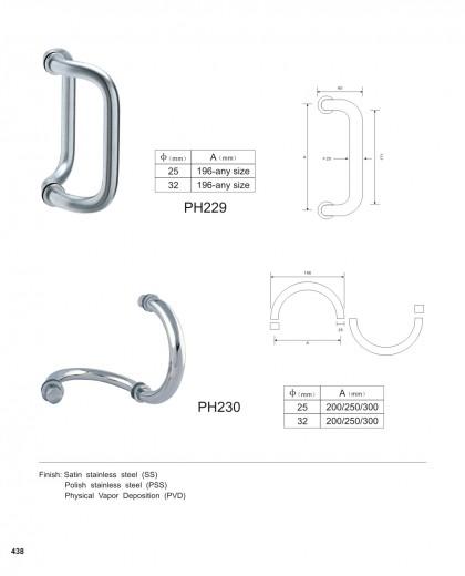 Custom Commercial Door Pulls manufacturer PH229 PH230